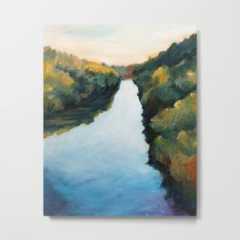 River and Forest in Fall Metal Print