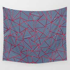 Ab Out Navy Red Wall Tapestry