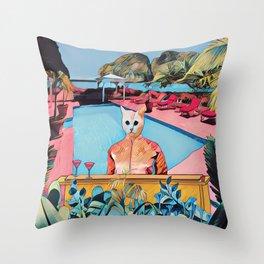 Kitty pool Throw Pillow