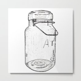 Atlas Jar Line Drawing Metal Print
