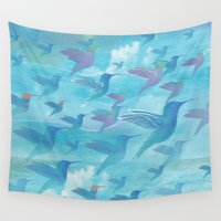 wings Wall Tapestries featuring Wings by sandesign