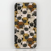 square iPhone & iPod Skins featuring Social Pugz by Huebucket
