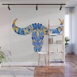 Water Buffalo Skull – Navy & Yellow Wall Mural