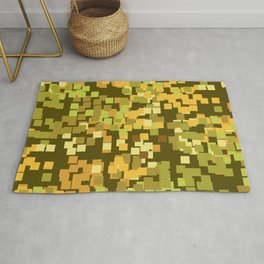 Geometric Squares Pattern in Trendy Faux Camo Design Rug