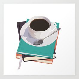 Coffee and books Art Print