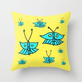 Light Blue Butterflies on Yellow Throw Pillow