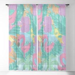 Tropical Flamingo Jungle Sheer Curtain