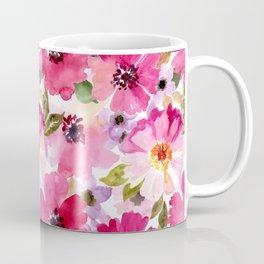 Watercolor Flowers Pink Fuchsia Kaffeebecher