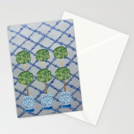Blue Lattice Ginger Jars Topiary  Stationery Cards