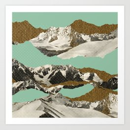 Golden Zugspitze Square / Turquoise Art Print