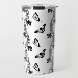 Delphiniums and Butterflies Black and White Travel Mug