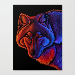 Fire Wolf Colorful Fantasy Animals Canvas Print