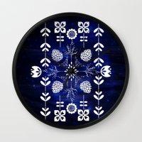 batik Wall Clocks featuring Flora Batik by GypsyBohemian