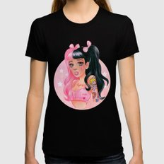 Dark Pink Girl Black Womens Fitted Tee LARGE