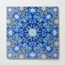Aqua Crystal Mandala Metal Print