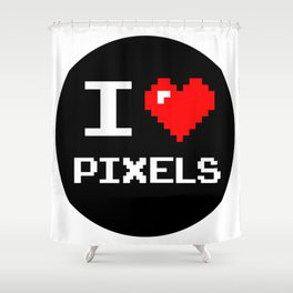 I Love Pixels, Pixel Heart, nerd sticker, geek sticker Shower Curtain