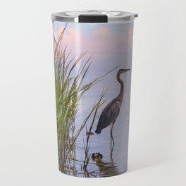 Blue Heron In Assateague Travel Mug