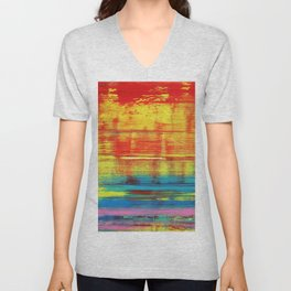 Sunny Sunset, Colorful Abstract Art Unisex V-Neck