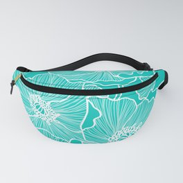 Turquoise Poppies Drawing Fanny Pack