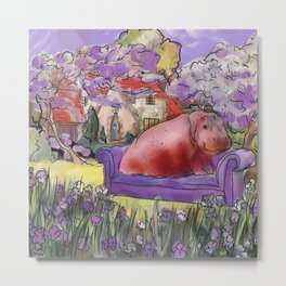 animals in chairs #9 variation on a theme Hippo in the garden Metal Print