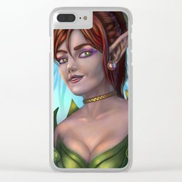 Crimson Elf -Lady of The Woods Clear iPhone Case