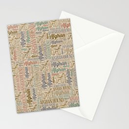 Afghan Hound silhouette and word art pattern Stationery Cards