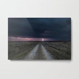 Darkness Falls - Lightning Strikes Down a Country Road at Night Metal Print