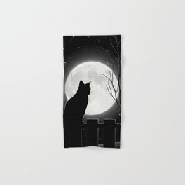 Silent Night Cat and full moon Hand & Bath Towel