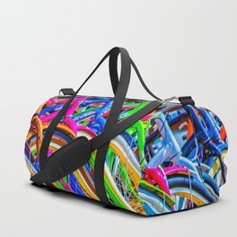 Colorful bicycles in a row Duffle Bag