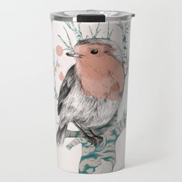 Robin on Birch Travel Mug