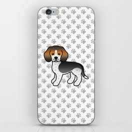 Cute Blue Ticked Beagle Dog Cartoon Illustration iPhone Skin