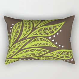 Floral tropical green leaves on brown background Rectangular Pillow