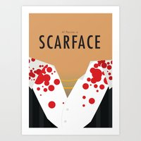 scarface Art Prints featuring Scarface - Minimalist Poster by Infrequent Design