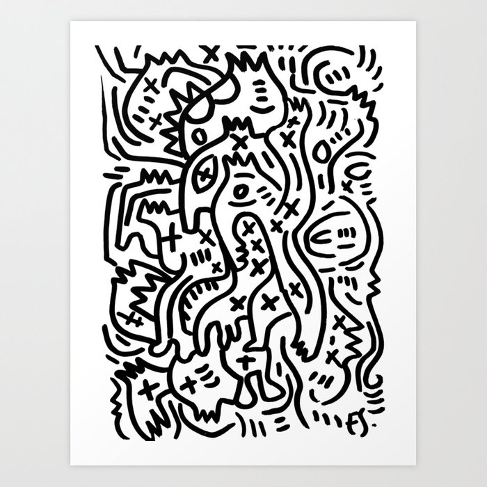 Graffiti Street Art Black and White Kunstdrucke