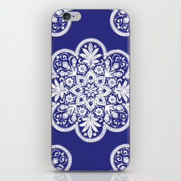 Floral Doily Pattern | Blue and White iPhone Skin