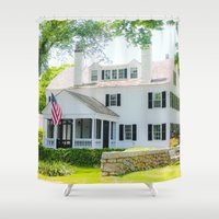 cape cod Shower Curtains featuring Cape Cod Colonial by ELIZABETH THOMAS Photography of Cape Cod