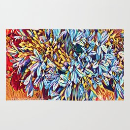 Blues Bouquet with Yellow and Red Rug