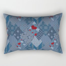 Denim patchwork rhombus with hearts. Rectangular Pillow
