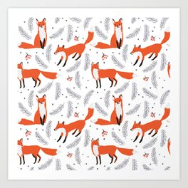 Red foxes and berries in the winter forest Art Print