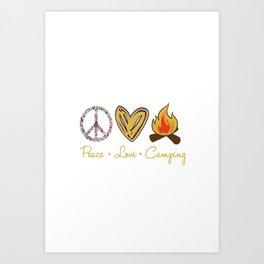 peace love camping Retro Vintage Art Print