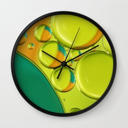 Bubble Abstract with a Twist of Lime Wall Clock