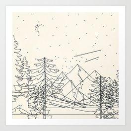 Minimal Line Mountain Beauty I Art Print