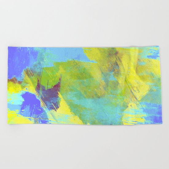 Hint Of Summer - Abstract, textured painting Beach Towel