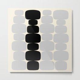 Abstraction_Balance_ROCKS_BLACK_WHITE_Minimalism_001 Metal Print