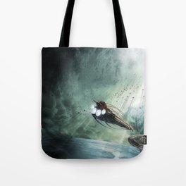 The Intrepid arrives at Carthage - Green Clouds Tote Bag