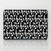 music notes iPad Cases featuring Black & White Music Notes by Designs by Aryel