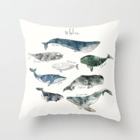lettering Throw Pillows featuring Whales by Amy Hamilton