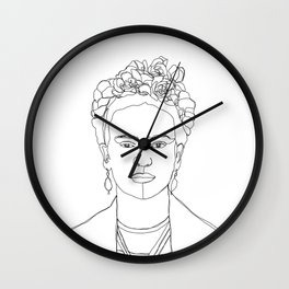 Frida Kahlo portrait illustration Wall Clock