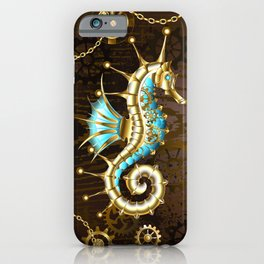 Wooden Background with Mechanical Seahorse ( Steampunk ) iPhone Case