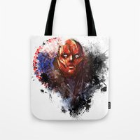 red hood Tote Bags featuring Red Hood by Vincent Vernacatola